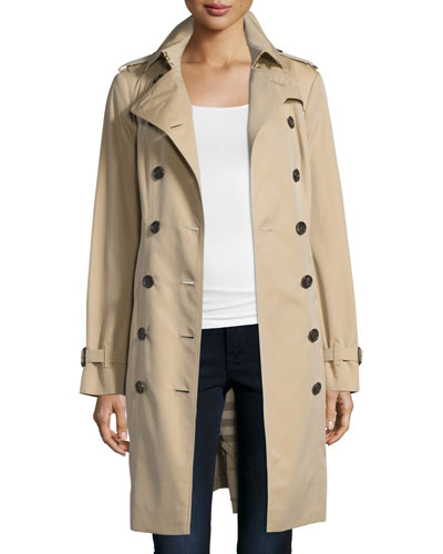 Kensington Woven Cotton Trenchcoat, Nude