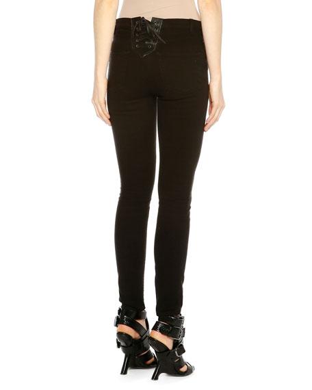 Raw Denim Skinny Jeans W/Lace-Up Back, Black