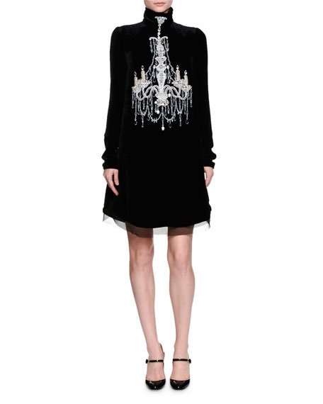 Mock-Neck Embellished-Chandelier Dress, Black
