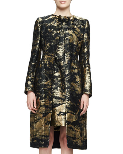 Long-Sleeve Snap-Front Coat, Gold
