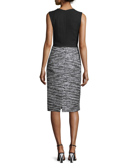 Sleeveless Boucle Tweed Combo Dress, Black/White