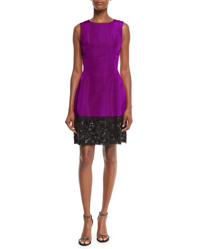 Sleeveless Iridescent Faille Cocktail Dress, Magenta