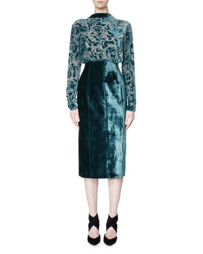 Long-Sleeve Velvet Devoré Combo Dress