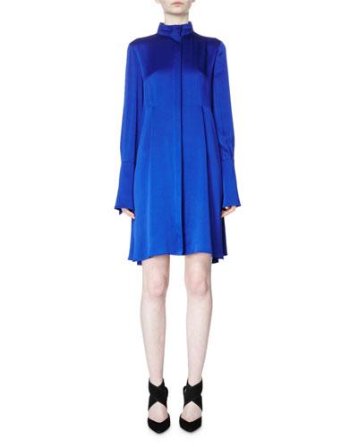 Long-Sleeve Band-Collar A-Line Dress, Royal Blue