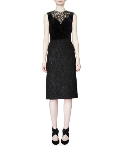 Sleeveless Moire-Print Sheath Dress, Black