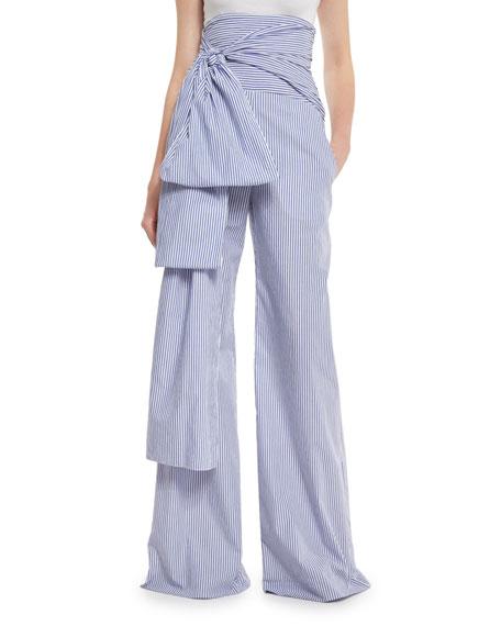 Shirting-Striped High-Waist Sash Pants, Blue/White