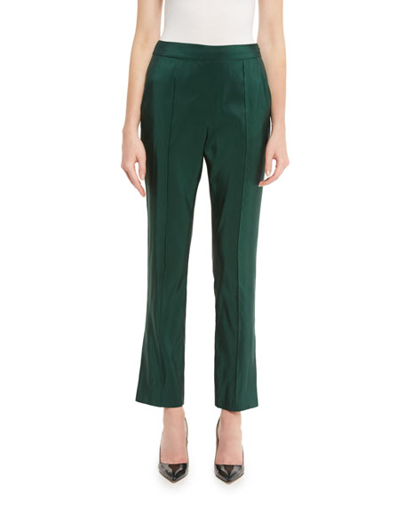 Skinny Silk Faille Ankle Pants, Hunter Green