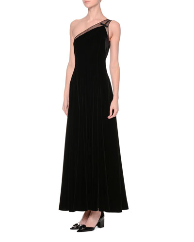 One-Shoulder Velvet A-Line Gown, Black
