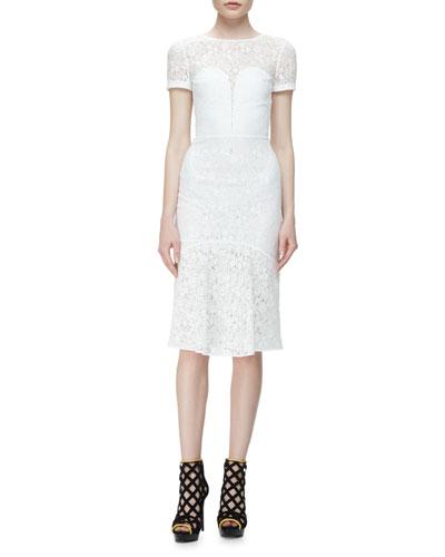 Short-Sleeve Lace Illusion Dress, White