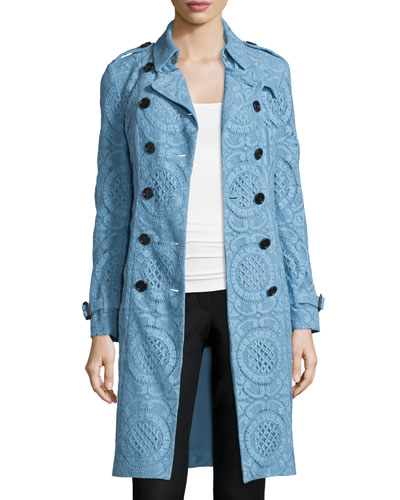 Double-Breasted English Lace Trenchcoat, Light Blue