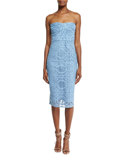 Fitted Strapless Lace Dress, Light Blue