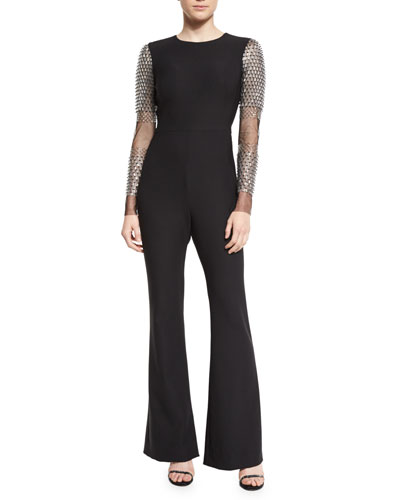 Stretch-Woven Jumpsuit w/Embellished Tulle Sleeves, Black