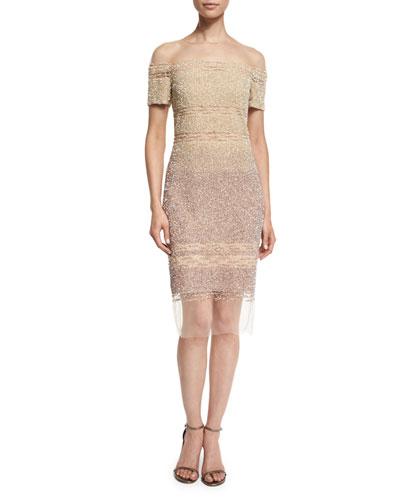 Short-Sleeve Signature Ombre Sequin Dress, Champagne/Cognac