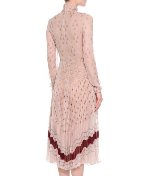 Printed Chiffon Mock-Neck Dress, Multi