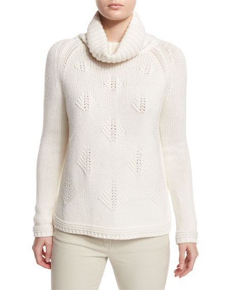 Cashmere Christmas Tree Cowl-Neck Sweater, White