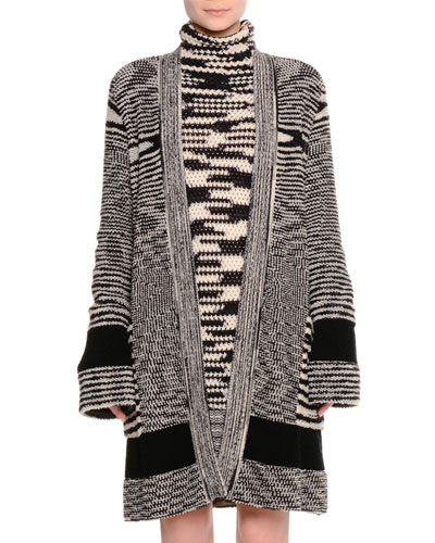 Long Knit Open-Front Cashmere Cardigan, Spacedye
