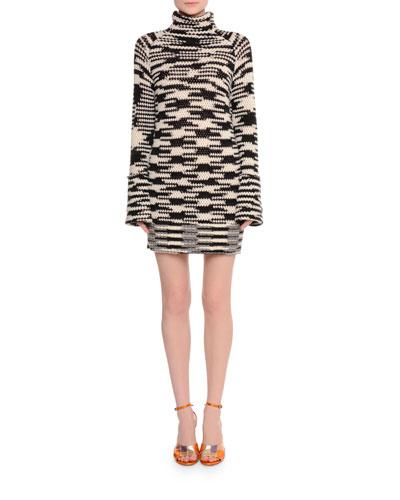 Long-Sleeve Knit Turtleneck Sweaterdress, Spacedye
