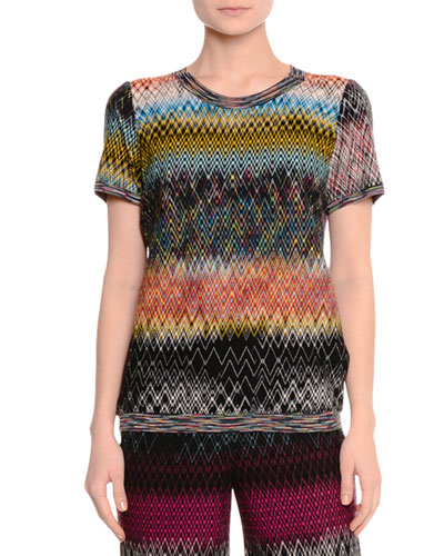 Short-Sleeve Zigzag Knit Top, Multi