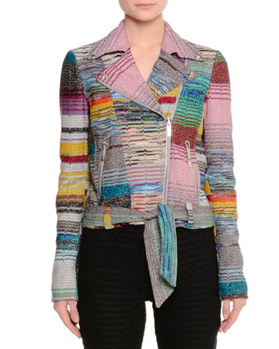 Patchwork Knit Moto Jacket, Multi