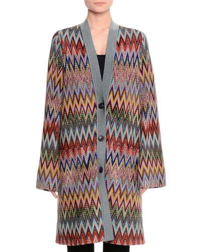 Long Zigzag Knit Cardigan, Multi