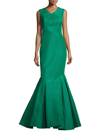Sleeveless Open-Back Silk Faille Trumpet Gown, Leaf Green