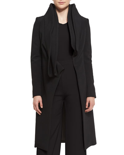 Layered Collar Wrap-Front Coat, Black