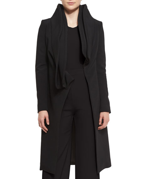 Brandon Maxwell Layered Collar Wrap-Front Coat, Black