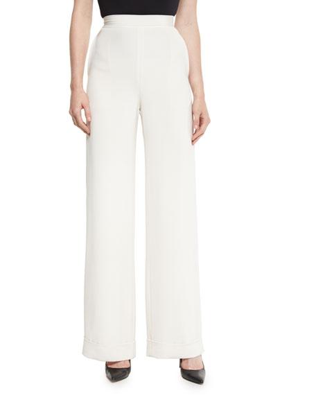 Cuffed Wide-Leg Silk Crepe Pants