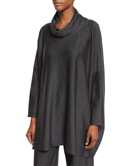 Cowl-Neck Wool-Blend Sweater, Charcoal
