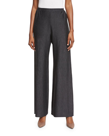 Eskandar Flat-Front Flared Trousers, Charcoal