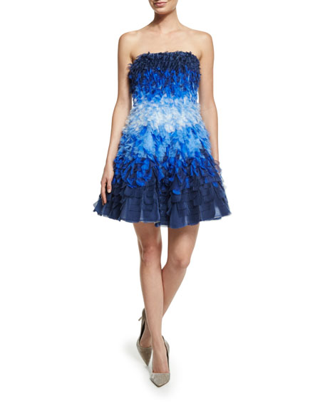 Strapless Ombre Silk Organza Dress, Blue/Multi