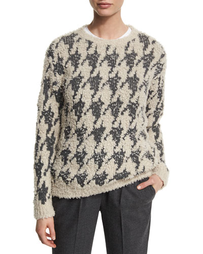 Paillette Houndstooth Pullover Sweater, Gray Pattern