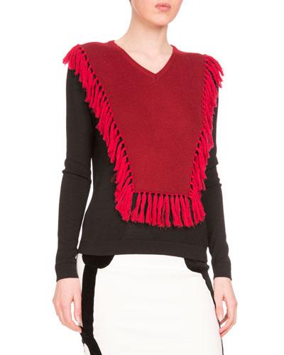 Ming Fringe-Bib Colorblock Sweater, Black