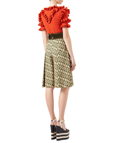 Wool Knit Ruffle Top, Orange