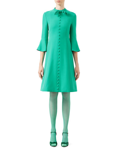 3/4-Sleeve Crepe Cady Dress, Caribbean Green