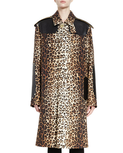 Oversized Leopard-Print Wool Coat