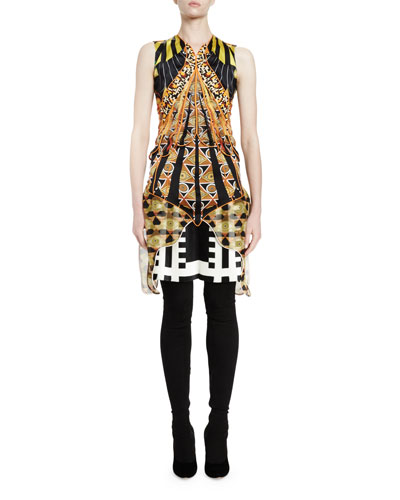 Sleeveless Optical Wings Print Sheath Dress, Multi Colors