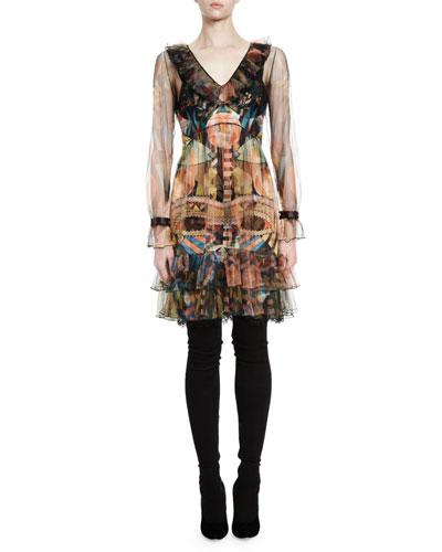 Cleopatra Long-Sleeve Printed Tulle Dress, Multi