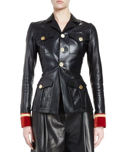 Leather Jacket w/Velvet Cuffs, Black/Red