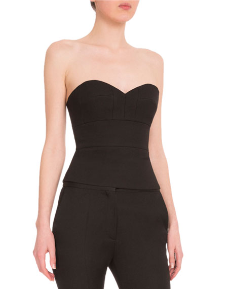 Seamed Strapless Sweetheart Bustier, Black