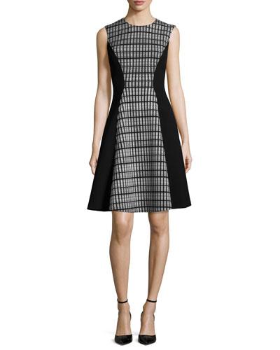 Raised-Seam Double-Mesh Dress, Black/White