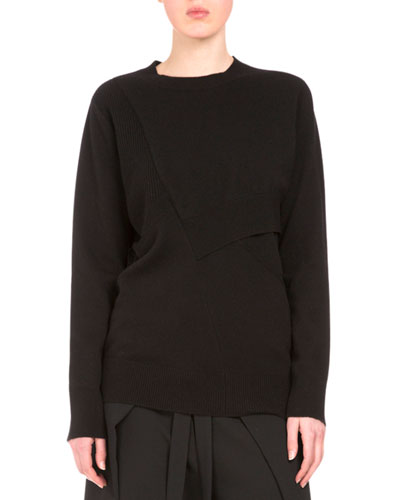 Long-Sleeve Pieced Sweater, Black