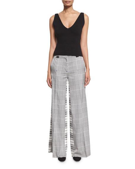 Wide-Leg Mixed-Plaid Silk Pants, Black