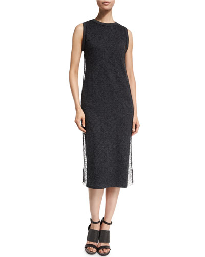Sleeveless Sheath Dress w/Lace Overlay, Anthracitre
