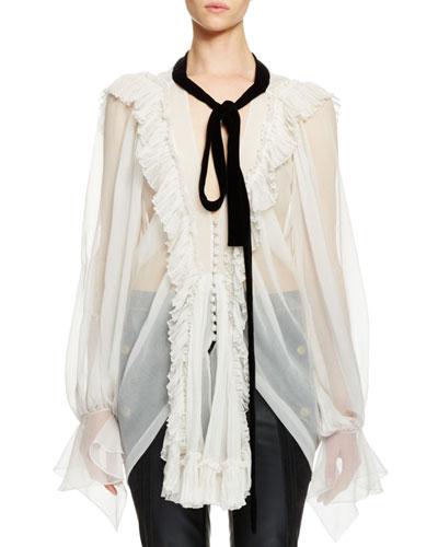 Long-Sleeve Ruffle-Trim Tie-Neck Blouse, Chalk