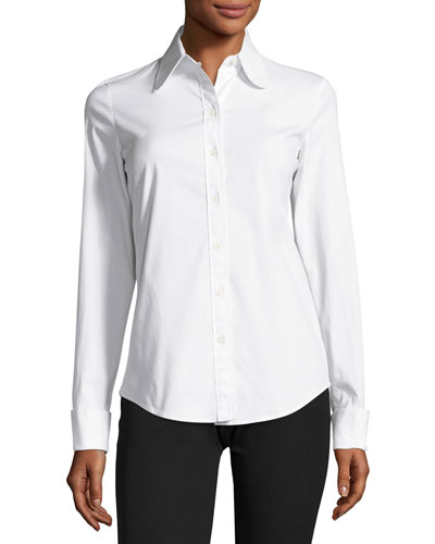 Stretch-Poplin Button-Front Blouse, White