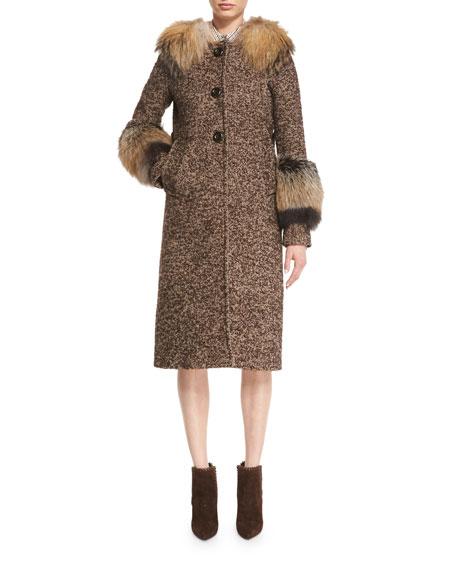 Herringbone Tweed Coat w/Fox Fur Trim, Brown