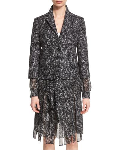 3/4-Sleeve Tweed Wool Blazer, Black