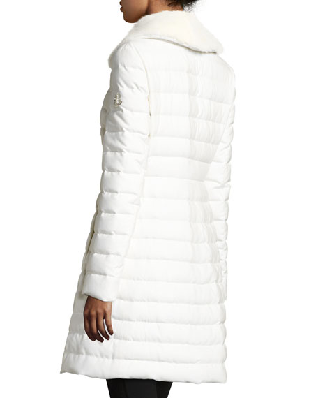 Quilted Cashmere-Blend Puffer Coat w/Mink Fur Collar