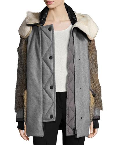 Wool-Blend Coat w/Mixed Fur Trim, Black